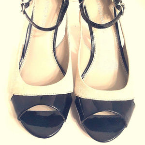 Fronco Sarto Black and Grey Leather Heels